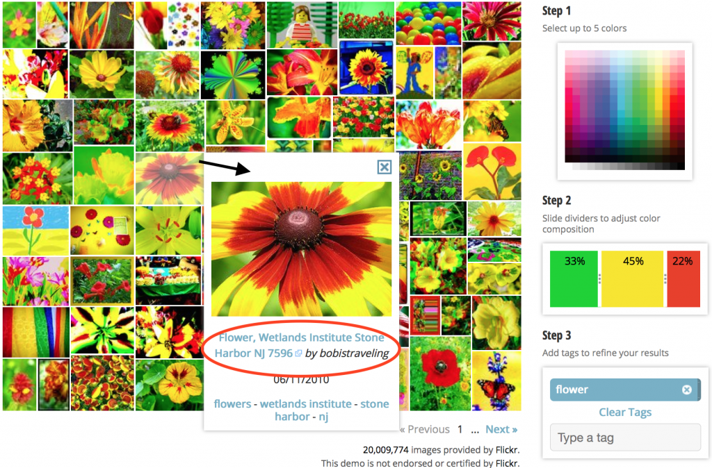 flickr, TinEye color search