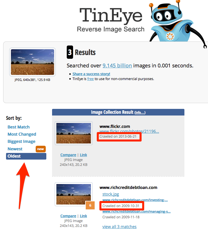 TinEye search results page crawl date