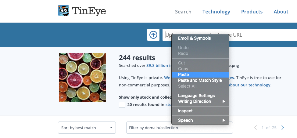 Search for an image by pasting it on the TinEye search page